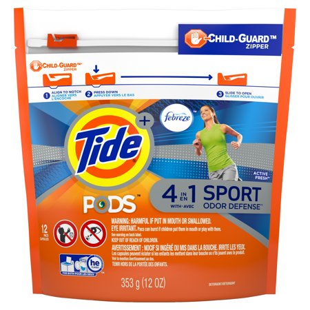 Tide PODS Plus Febreze, Sport Odor Defense Liquid Laundry Detergent Pacs, Active Fresh Scent, 12 count