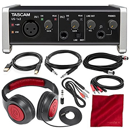 - Tascam US-1X2 1 In 2 out USB Audio & MIDI Interface with HDDA Mic Preamps and iOS Compatibility with Headphones and Cables Bundle