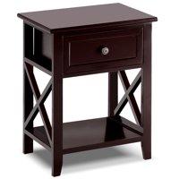 Topbuy End Table Nightstand w/Drawer & Shelf Bedroom Furniture Brown