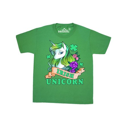 St Patricks Day Irish Unicorn Illustration with Shamrocks Youth T-Shirt](History Of St Patricks Day)