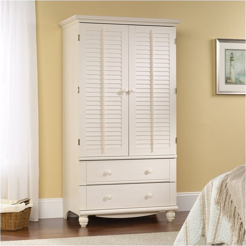 Pemberly Row Armoire in Antiqued White