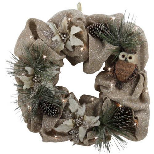 """Holiday Time Natural Owl Lighted Wreath, 26"""""""