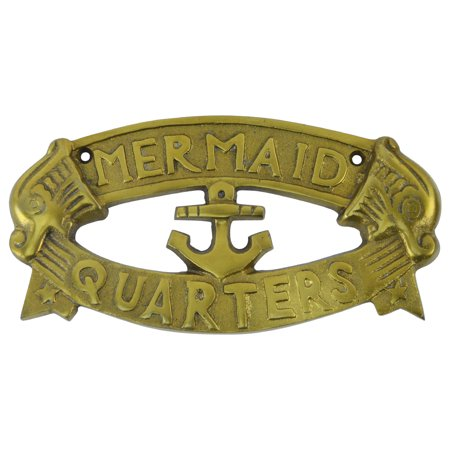 - Solid Brass Ship Plaque MERMAID QUARTERS nautical boat anchor decor sailing sign