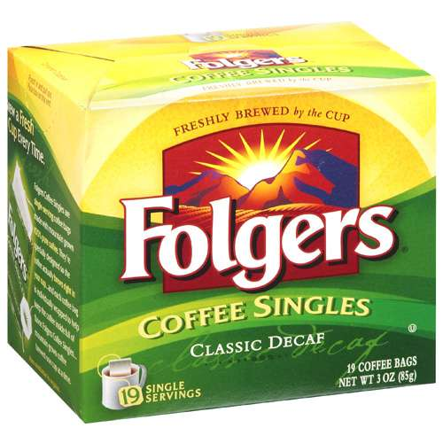 Folgers Classic Decaf Coffee Singles, 3 Oz
