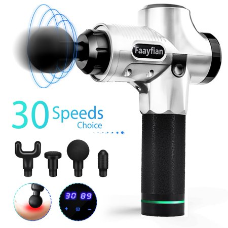 Faayfian Muscle Massage Gun 4 Heads 30 Speeds- Professional Powerful Handheld Deep Tissue Muscle Massager- Percussion Massager for Trigger Points and Muscle Recovery for High Performance Athletes ()