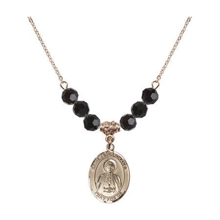 18-Inch Hamilton Gold Plated Necklace with 6mm Jet Birth Month Stone Beads and Saint Peter Chanel Charm](Chanel Charm)