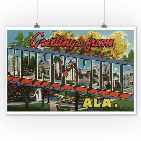 Greetings From Huntsville Alabama 9x12 Art Print Wall Decor Travel Poster