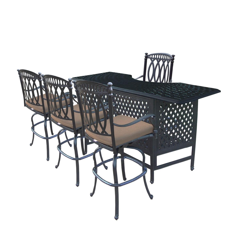 5-Piece Black Morocco Aluminum Patio Outdoor Swivel Chair Bar Set w  Sunbrella Cushions by CC Outdoor Living