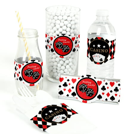Las Vegas - DIY Party Supplies - Casino Party DIY Wrapper Favors & Decorations - Set of 15 - Casino Party Theme