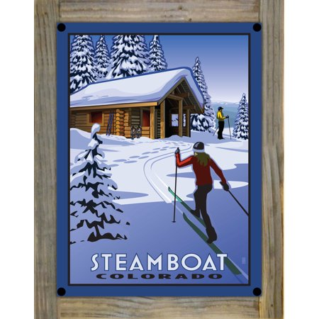 "Steamboat Colorado Cross Country Cabin Metal Print on Reclaimed Barn Wood by Paul Leighton (9"" x 12"")"