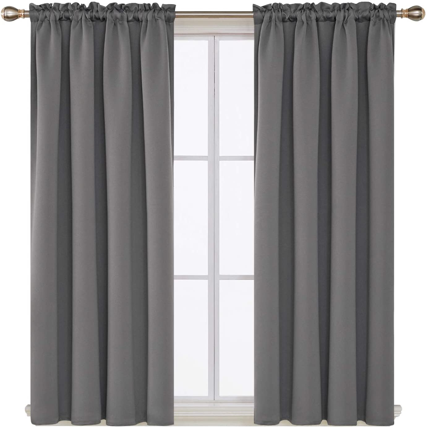 Deconovo Light Grey Blackout Curtains Rod Pocket Curtain Panels Thermal Insulated Curtains For Nursery 52w X 45l Inch 2 Panels Walmart Com Walmart Com