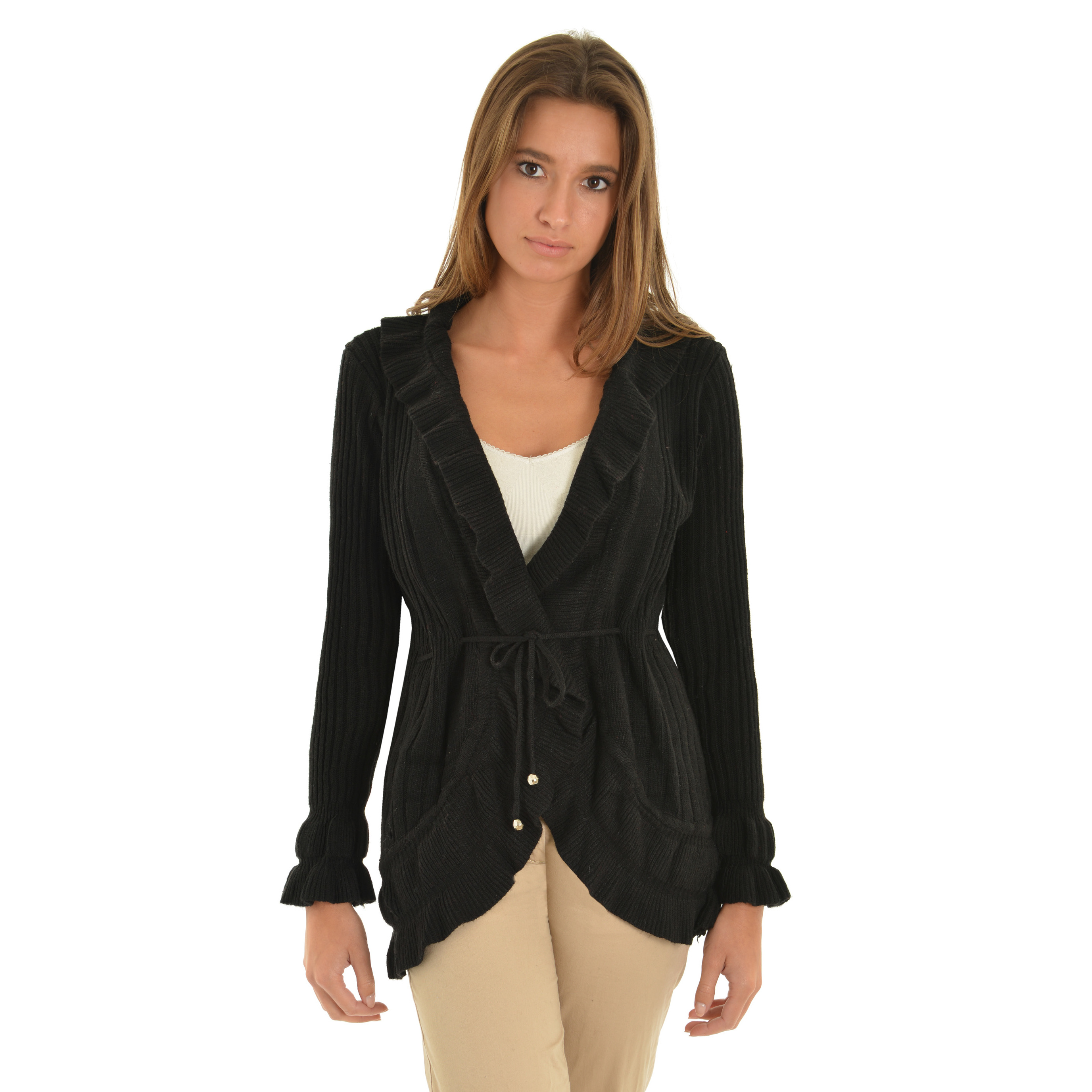 Womens Black Cardigan Sweater High Low Ribbed Knit Sweater Tie ...