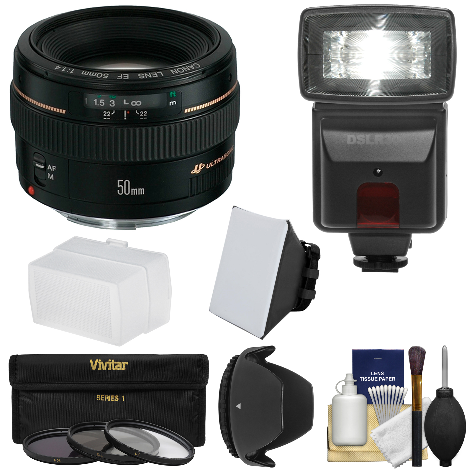 Canon EF 50mm f/1.4 USM Lens with 3 Filters + Hood + Flas...