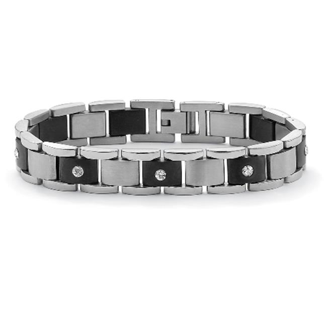 PalmBeach Jewelry 50462 Men's Round Crystal Accent Black ION Plated Stainless Steel Bar-Link Bracelet 8 1/4''