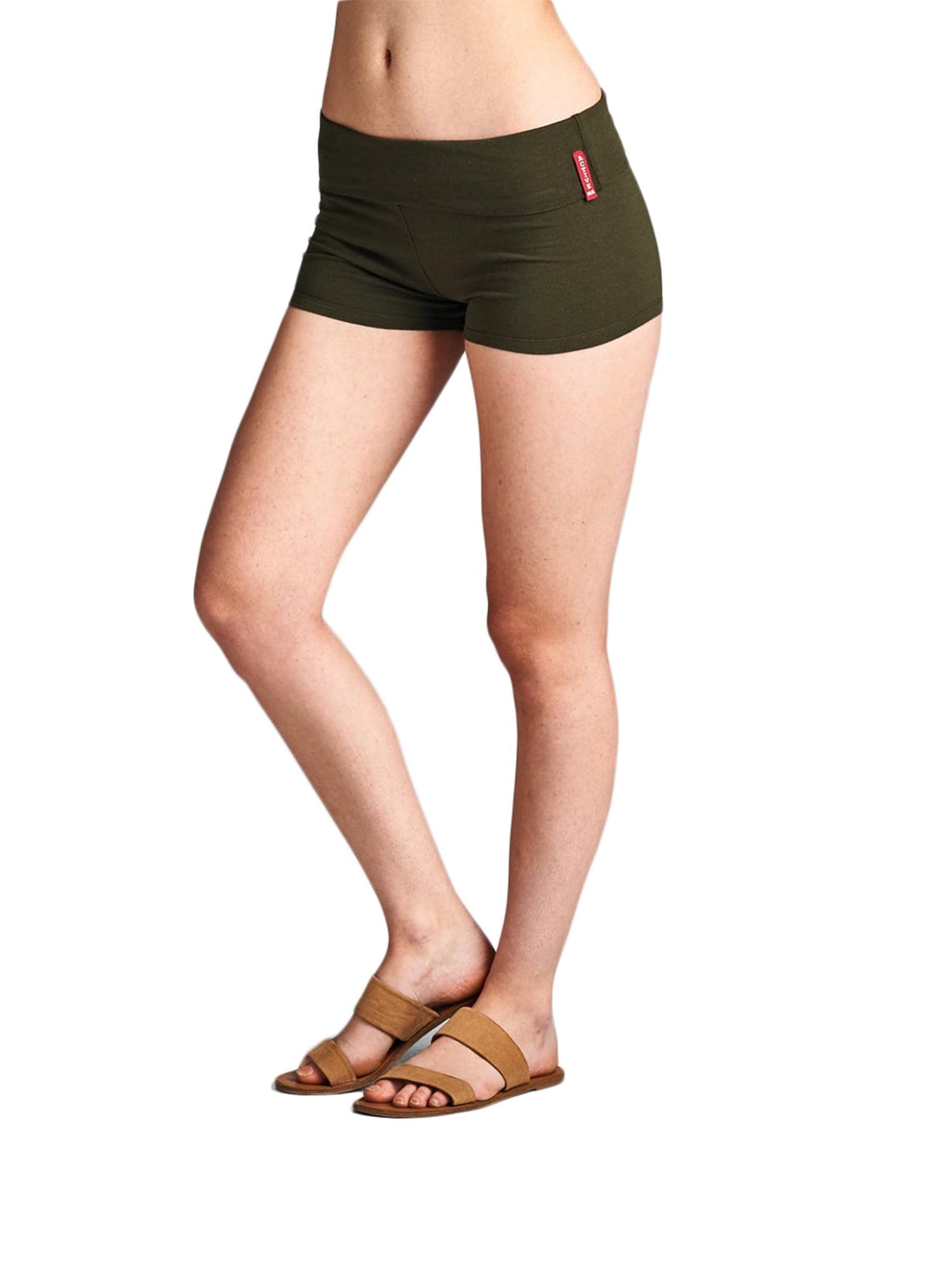 Essential Basic Junior Women Fold Over Low Rise Short Cotton Spandex Yoga Dance