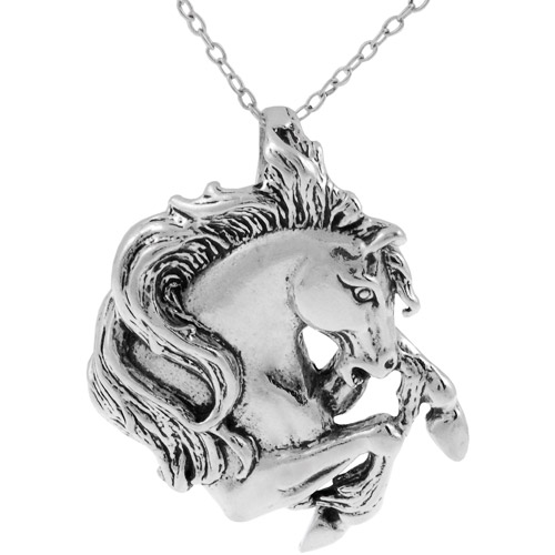 Brinley Co. Horse Head Necklace in Sterling Silver