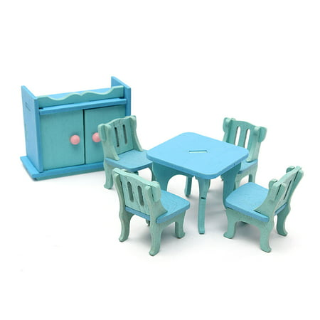 Wedlies 6Pcs Wooden Miniature Dining Room Table Set For Dolls Dollhouse Furniture,Blue