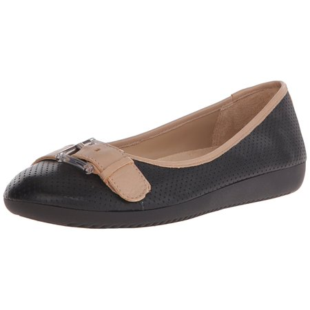 Naturalizer Womens Kiara Leather Closed Toe Slide Flats