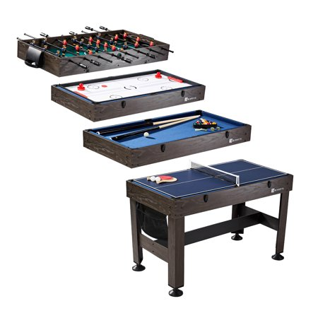 MD Sports 54 inch 4 in 1 Combo Game Table, foosball, slide hockey, table tennis and billiards, Accessories included, Brown