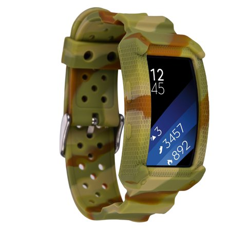 Neon Green Wristbands (For Sumsang Gear Fit2 Bands, Wristband Case with Strap for Gear Fit 2(Yellow)
