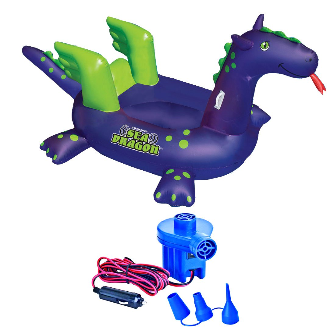 Swimline 90625 Pool Kids Giant Sea Dragon Inflatable Float Toy w/ 12V Air Pump