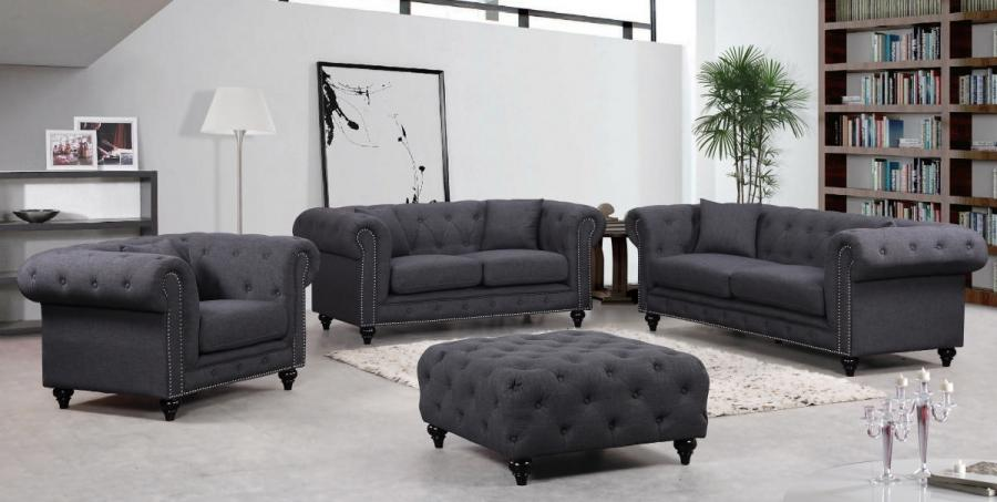 High Quality Meridian 662 Chesterfield Living Room Set 3pcs In Grey Fabric Contemporary  Style