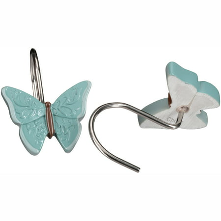 Mainstays Butterfly Blessing Shower Hooks, 12 Piece