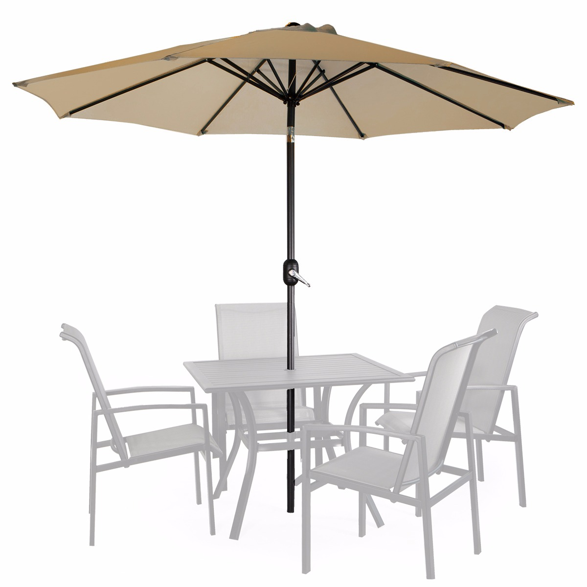 9' Patio Umbrella Round Sunshade Outdoor Canopy Tilt and Crank Tan by