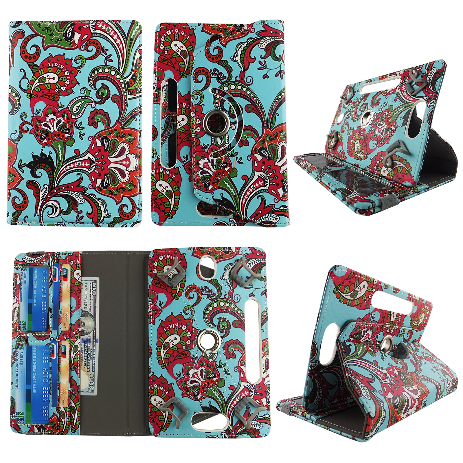 Universal Luxury Cute Christmas Elegant Patterned Wallet Case Cover Folio Wallet fits 10-11 inch Tablet Devices