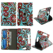 Wallet style for Asus Nexus tablet case 7 inch for android tablet cases 7 inch Slim fit standing protective rotating universal PU leather cash Pocket cover Aqua Paisley