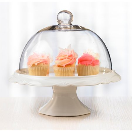 Bianco Pedestal Porcelain Cake Plate and Dome 25cm ()