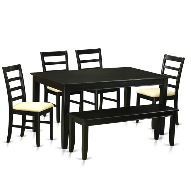 East West Furniture DUPF6-BLK-C Microfiber Dining Room Set Table & 4 Chairs & Also a Bench, Black 6 Piece by East West Furniture