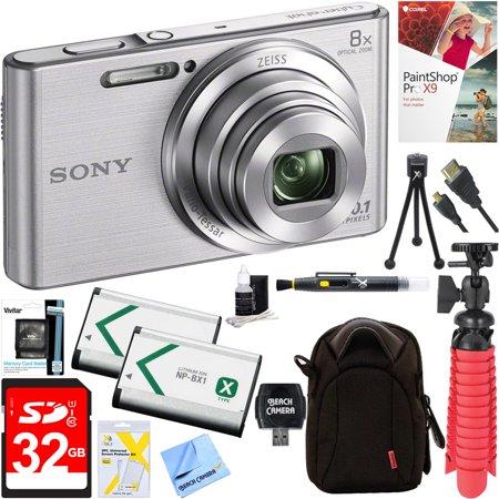 Cyber Shot Advanced Accessory - Sony DSC-W830 Cyber-shot 20.1MP 2.7-Inch LCD Digital Camera (Silver) + 32GB SDHC Memory Dual Battery Kit + Accessory Bundle