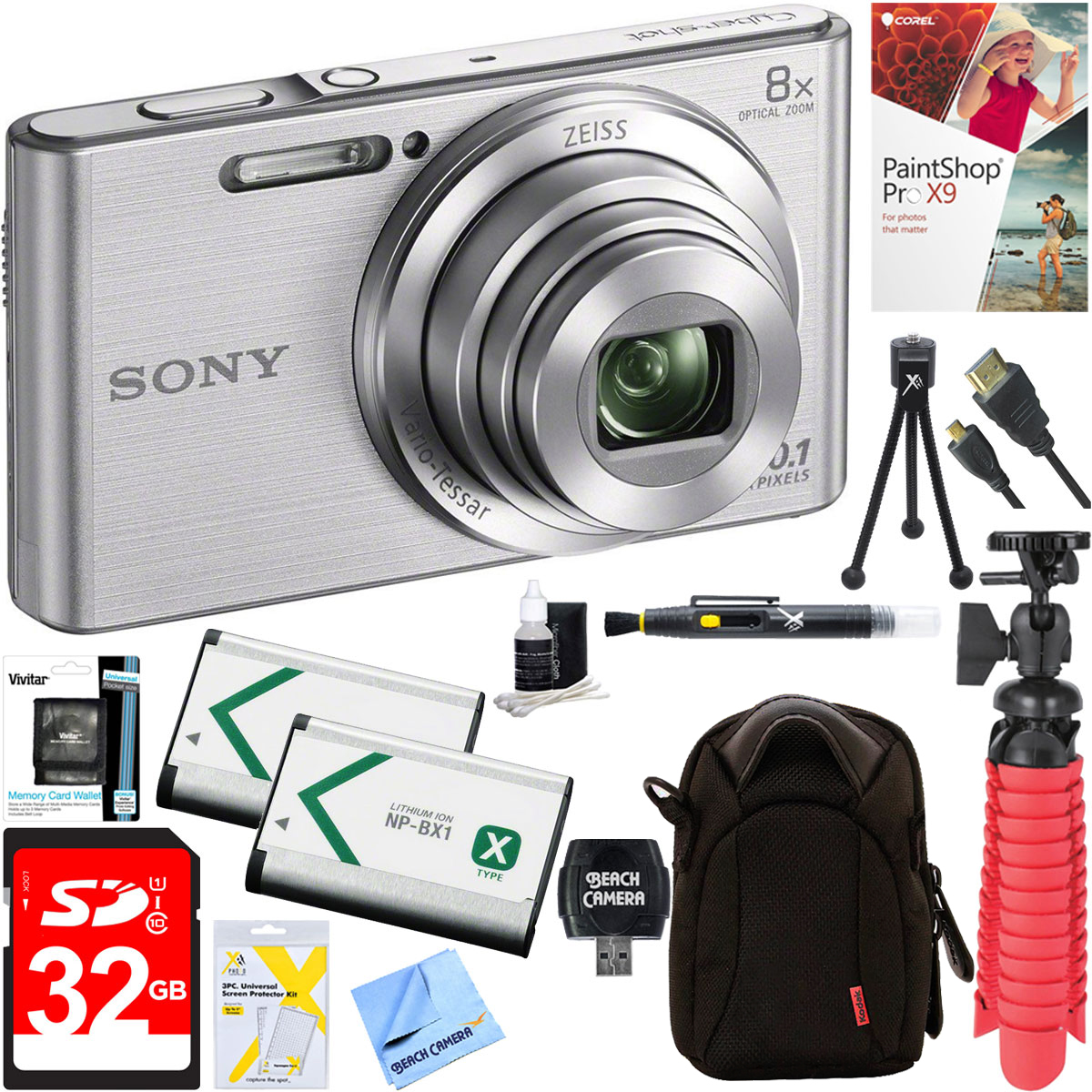 Sony DSC-W830 Cyber-shot 20.1MP 2.7-Inch LCD Digital Camera (Silver) + 32GB SDHC Memory Dual Battery Kit + Accessory Bundle
