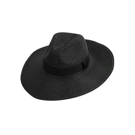 Woven Straw Wide Brim Panama Style Sun Hat