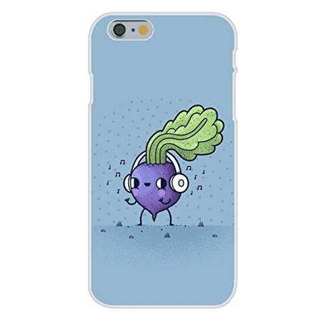 "Apple iPhone 6+ (Plus) Custom Case White Plastic Snap On - ""Beat Roots"" Plant & Music Mashup"