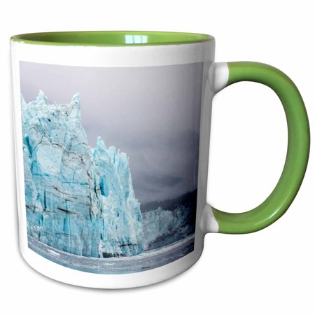 - 3dRose Alaska, Glacier Bay NP. Margerie Glacier and forested mountain. - Two Tone Green Mug, 11-ounce