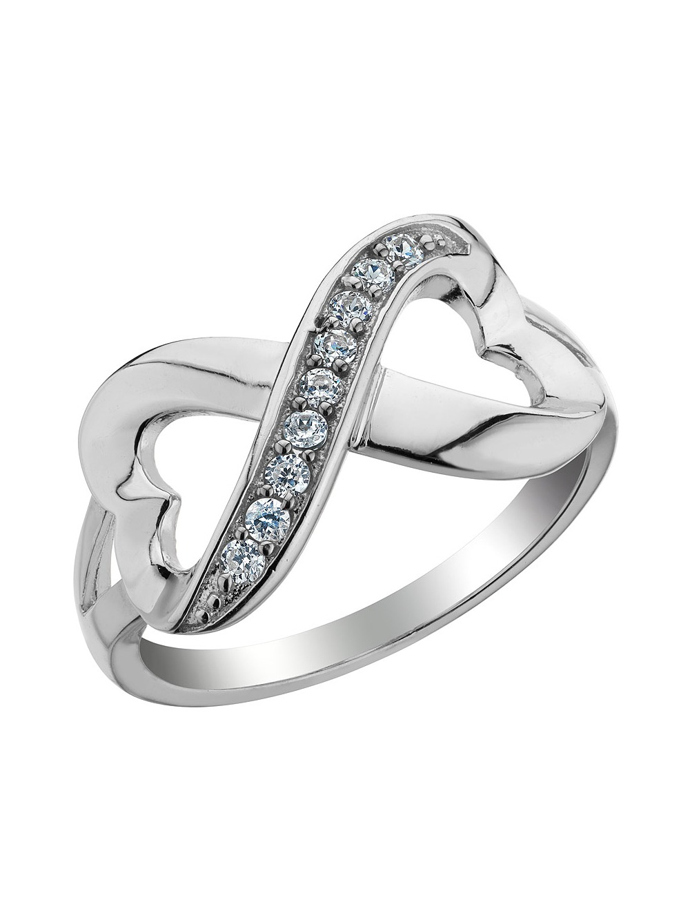 Infinite Love Double Heart Created White Topaz Ring in Sterling Silver