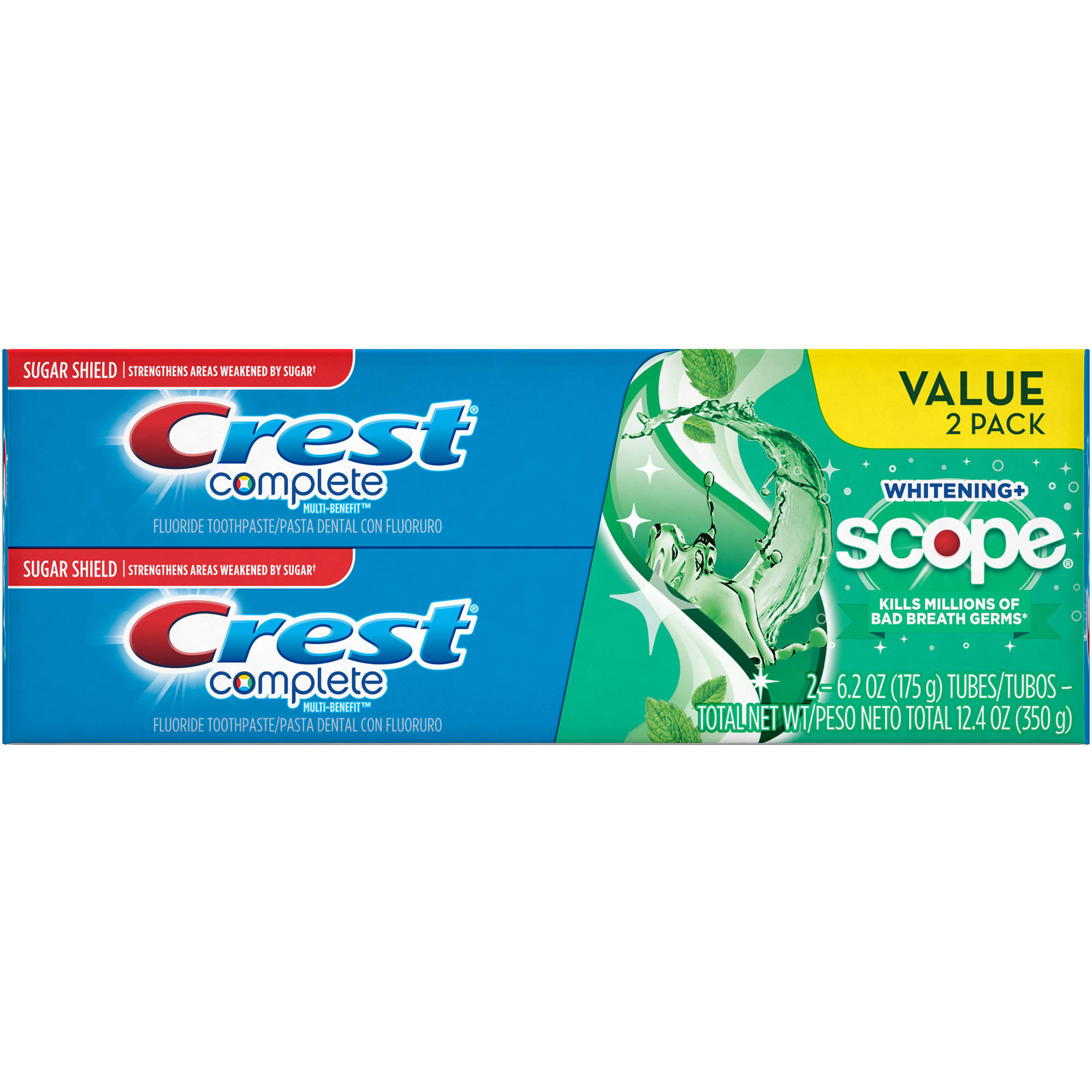 Crest Complete Whitening + Scope Minty Fresh Striped Toothpaste, 6.2 oz, (Pack of 2)