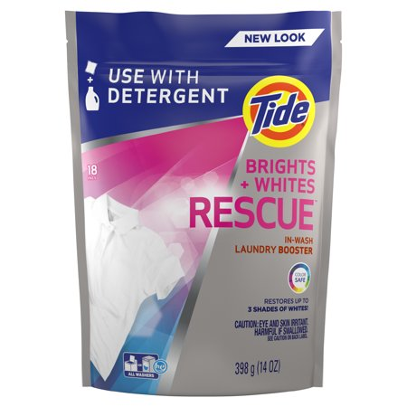 Tide Bright + Whites Rescue In-Wash Laundry Booster Pacs, 18 count - Roll Tide Colors