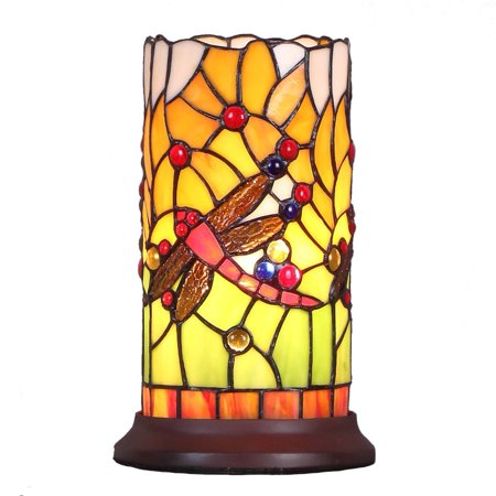 Bieye L10650 Dragonfly 10 inch Tiffany Style Stained Glass Mini Table Lamp ()