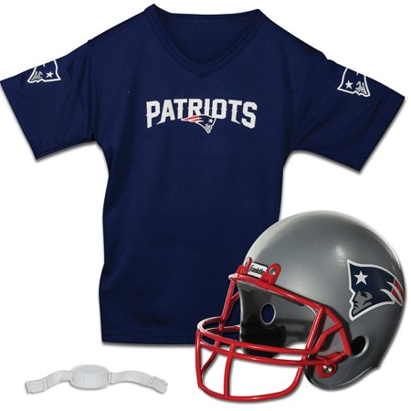 New England Patriots Franklin Sports Youth Helmet and Jersey Set - No - New England Patriots Helmet
