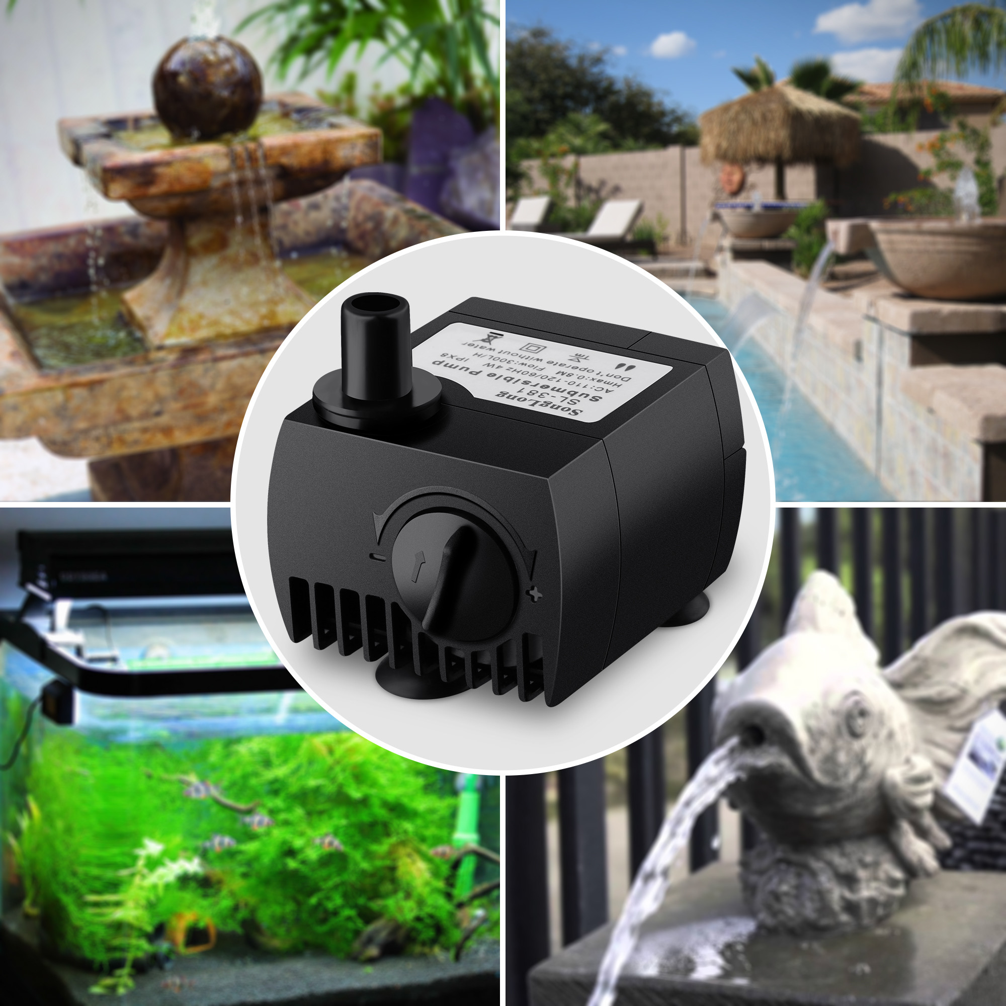 VicTsing 80 GPH (300L/H) Submersible Water Pump For Pond