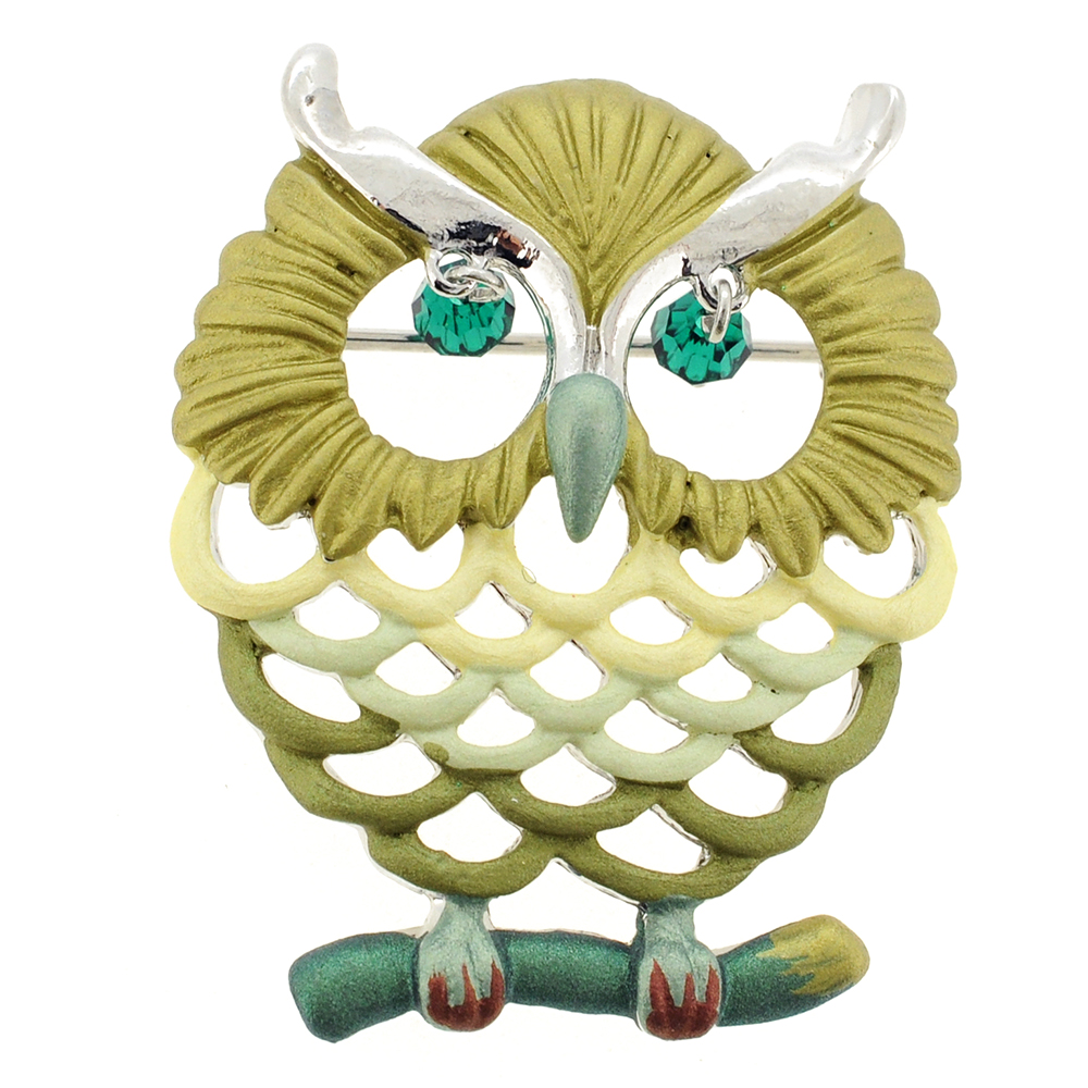 Green Owl Swarovski Crystal Pin Brooch by