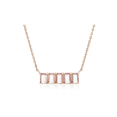 Tone Rectangle Pendant - Lesa Michele 5 Baguette Cut Simulated Morganite Cubic Zirconia Rectangle Station Pendant Cable Chain Necklace in Rose Gold over Sterling Silver