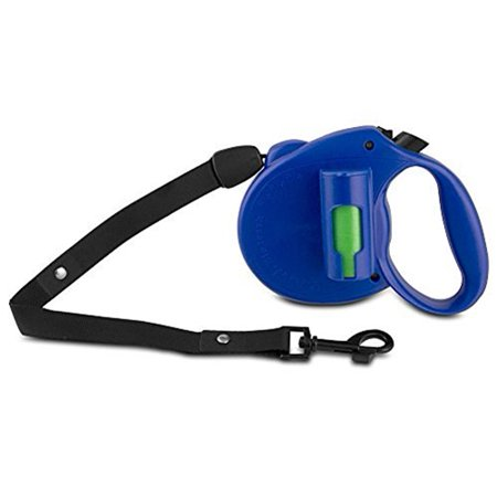 PAW Bio Retractable Leash with Green Pick-up Bags, Blue Bags On Board Plastic Leash