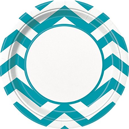 9 Chevron Paper Dinner Plates, Caribbean Teal, 8ct - image 1 of 1