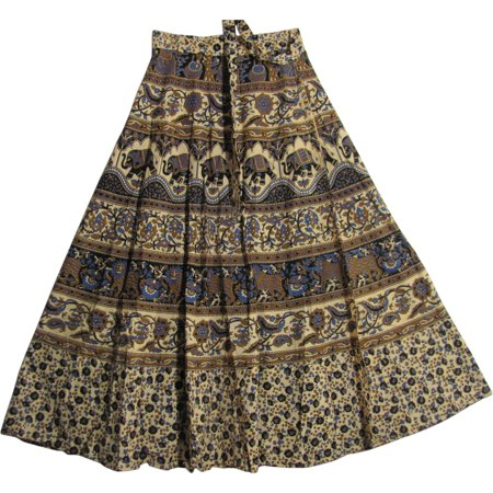 - Bohemian Indian Ethnic Block Print Cotton Long Maxi Wrap Around Skirt Bagroo (Earth & Blue Tones)