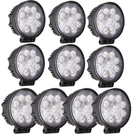 GZYF 10PCS 27W LED Work Light Lamp Bar Round Flood Beam Offroad for Truck Car Boat SUV 4WD UTE ATV 4X4 12V (Four Wheel Drive Suv)
