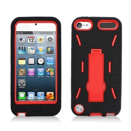- For Apple iPod Touch 5 Armor 3 in 1 w/Stand Black Skin+Red Rubber